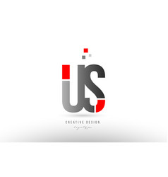 Red grey alphabet letter us u s logo combination vector