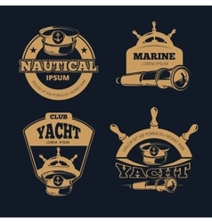 Retro nautical color labels on dark vector image