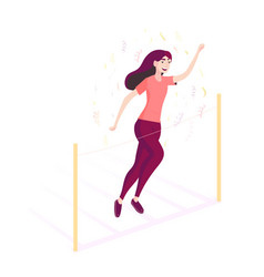 running girl competition and finish marathon vector image