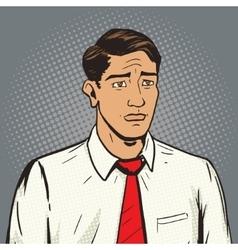 Sad man pop art style vector image
