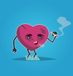 sad unhealthy sick heart smoking cigarette vector image