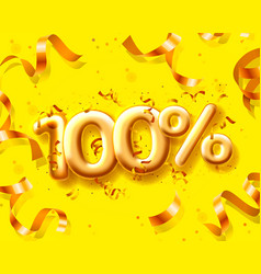 Sale 100 off ballon number on yellow vector