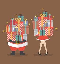 santa claus and santa woman holding a pile gift vector image