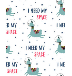 seamless pattern with cute llama in space vector image