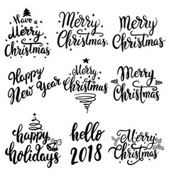 set christmas lettering emblems isolated on vector image