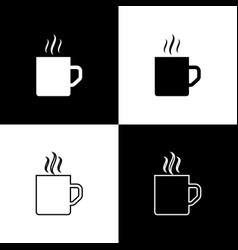 Set coffee cup flat icon isolated on black and vector