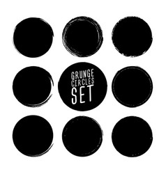 set grunge circle brush strokes design vector image