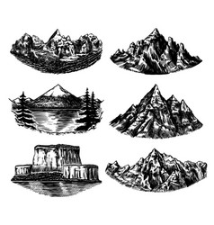 set mountains peaks vintage rock old vector image