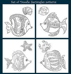 Set of 4 fish doodles vector image
