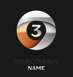 silver number three logo symbol in circle shape vector image