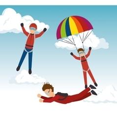 Sky diver parachutist sport design vector