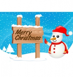 snowman and sign vector image