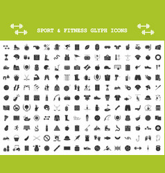 sport and fitness glyph icons big set healthy vector image