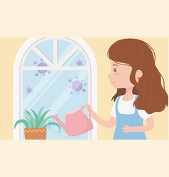 Stay at home quarantine woman with watering can vector