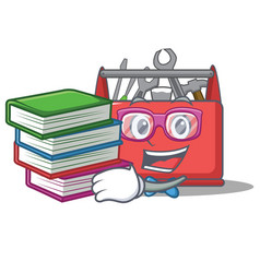 Student with book tool box character cartoon vector