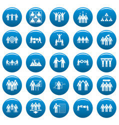 Team building training icons set vetor blue vector