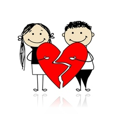 Valentine day Couple with two parts of big red vector image