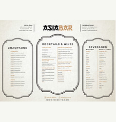 vintage cocktail and restaurand menu template vector image