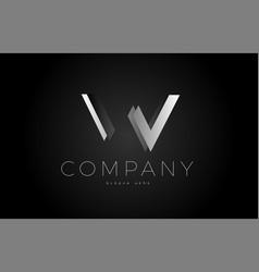 W black white silver letter logo design icon vector