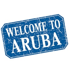Welcome to Aruba blue square grunge stamp vector
