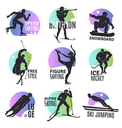 Winter sports emblems set vector