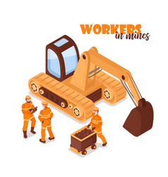 Workers in mines background vector