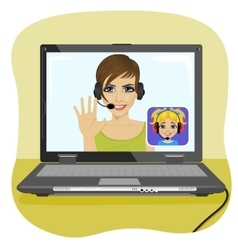 Young mom chatting with her daughter via internet vector image