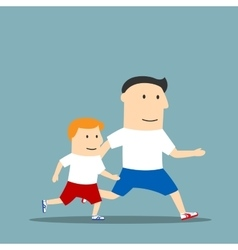 Cartoon father and son are jogging together vector image vector image