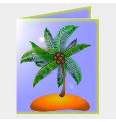 Postcard with picture of palm and beach vector image vector image