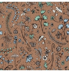 seamless pattern with summer flowers vector image