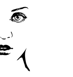 silhouette of a womans face vector image