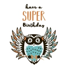 Super hero owl drawing for greeting card or tee vector