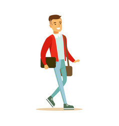 young smiling man in a red jacket walking and vector image vector image