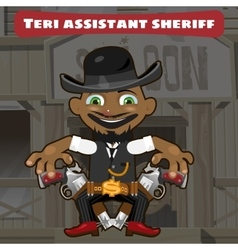Cartoon character in Wild West - sheriff assistant vector image vector image