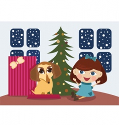 Christmas gift puppy vector image