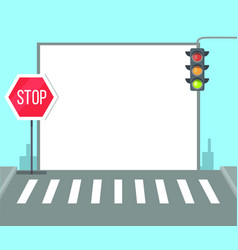 Pedestrian crossing with stop sign traffic lights vector