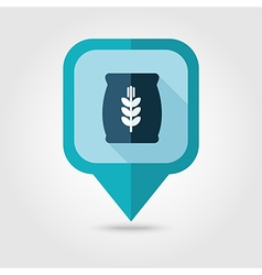 Sack of grain flat pin map icon Map pointer vector image vector image