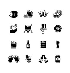 beer and brewing icons set brewery bottle vector image vector image