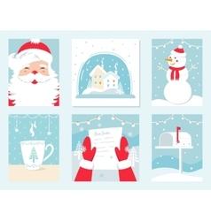 Christmas and Winter Holidays Cards Santa vector image