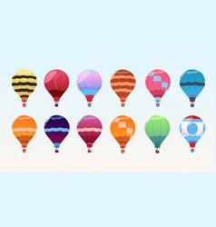 colorful air balloons set airship collection vector image