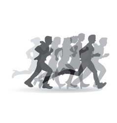group people business running monochrome vector image