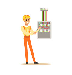 Smiling electrician screwing equipment in fuse box vector