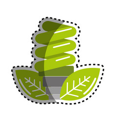 sticker green energy save bulb with leaves icon vector image