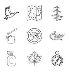 terrain icons set outline style vector image vector image