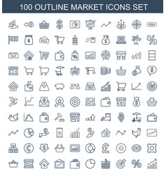 100 market icons vector