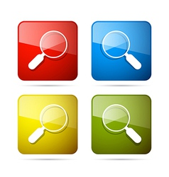 3d Blue Red Yellow and Green Magnifying Glass vector image
