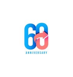 60 year anniversary logo template design vector