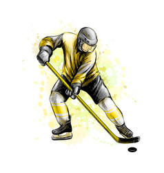 Abstract hockey player from splash watercolors vector