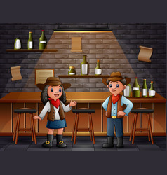African boy and girl in cowboy clothes at bar vector
