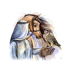 Arabian man with a falcon and a horse from a vector
